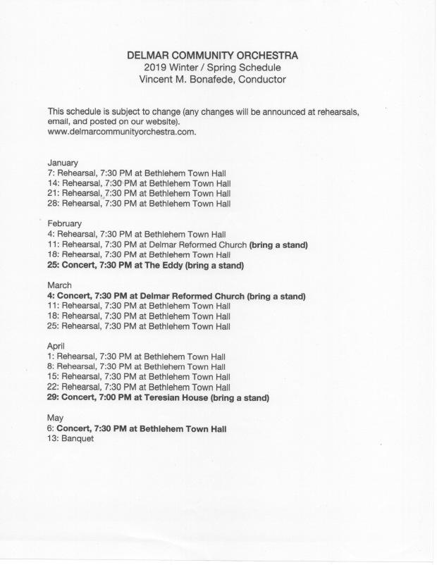 DCO Schedule